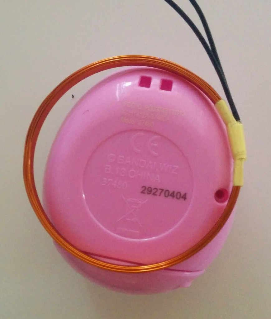 The inner circle on the Tamagotchi roughly outlines its internal antenna